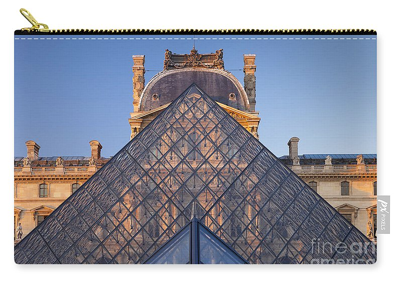Architectural Carry-all Pouch featuring the photograph Glass Pyramid At Musee Du Louvre by Brian Jannsen