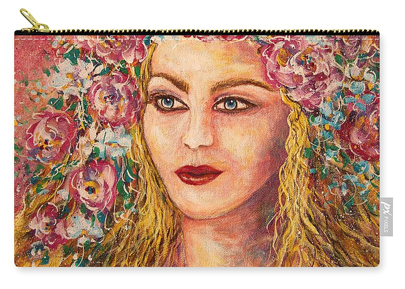 Goddess Carry-all Pouch featuring the painting Good Fortune Goddess by Natalie Holland