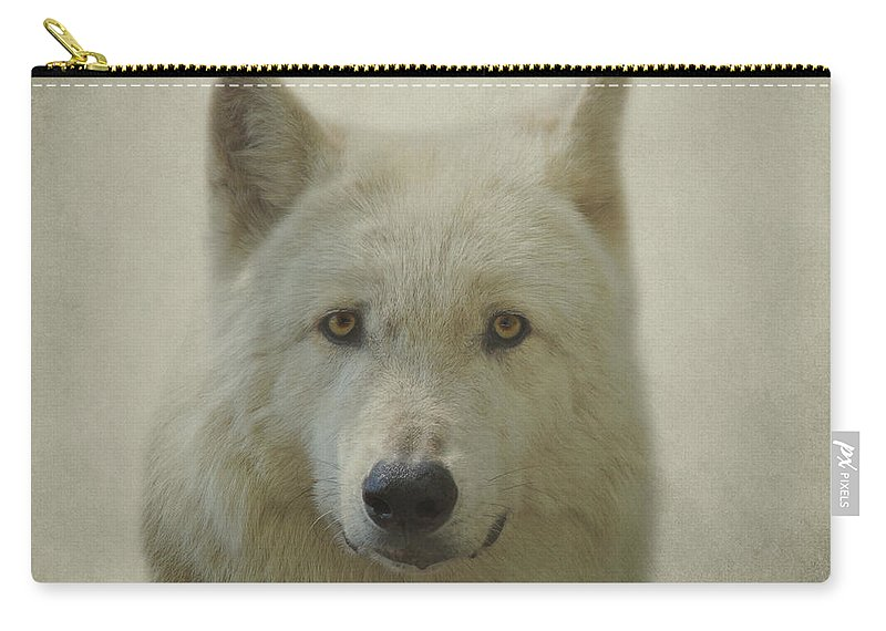 Gray Wolf Carry-all Pouch featuring the photograph Gray Wolf by Sandy Keeton