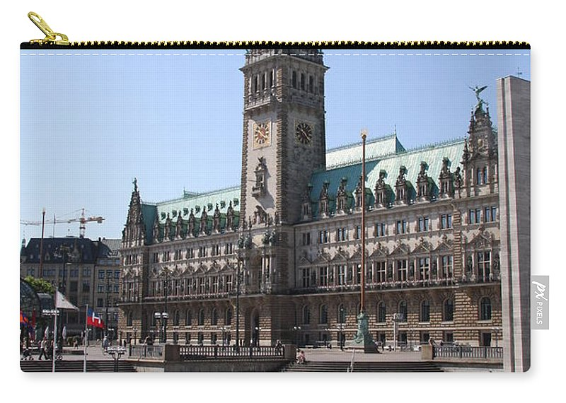 Hamburg Carry-all Pouch featuring the photograph Hamburg - City Hall With Fleet - Germany by Christiane Schulze Art And Photography