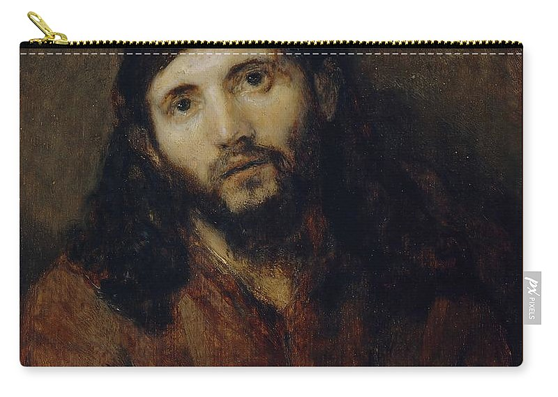 Christ Carry-all Pouch featuring the painting Head Of Christ by Rembrandt van Rijn