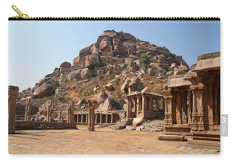 Ancient Buildings Carry-all Pouch featuring the digital art Hindu Ruins At Hampi by Carol Ailles