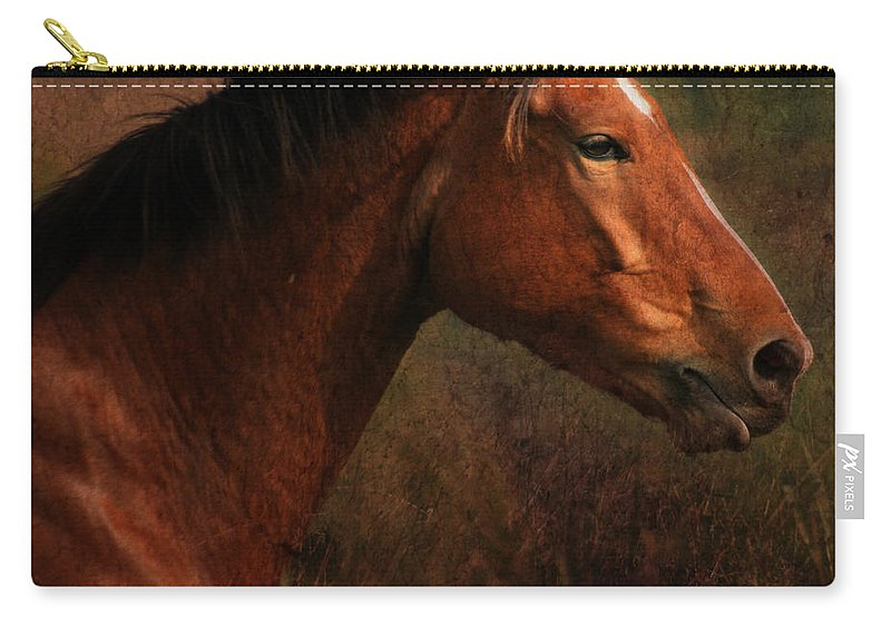 Horse Carry-all Pouch featuring the photograph Horse Portrait by Angel Ciesniarska