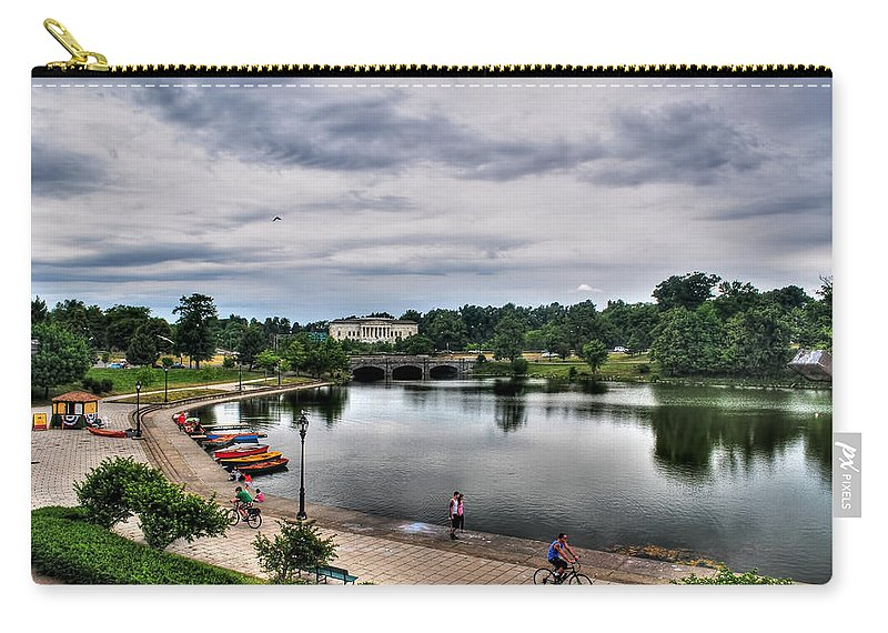 Hoyt Lake Carry-all Pouch featuring the photograph Hoyt Lake Delaware Park 0004 by Michael Frank Jr