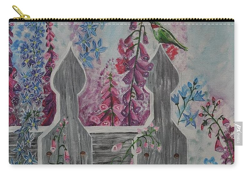 Humming Birds Carry-all Pouch featuring the painting Humming Birds by Sally Rice