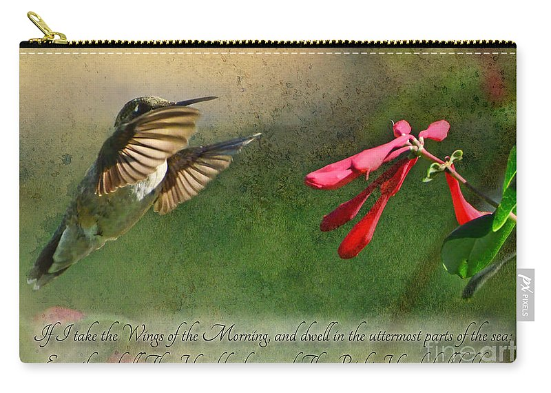 Nature Carry-all Pouch featuring the photograph Hummingbird Morning With Verse by Debbie Portwood