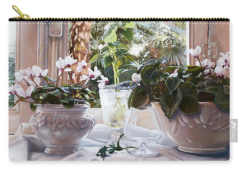 Ciclamini Carry-all Pouch featuring the painting I Ciclamini by Danka Weitzen