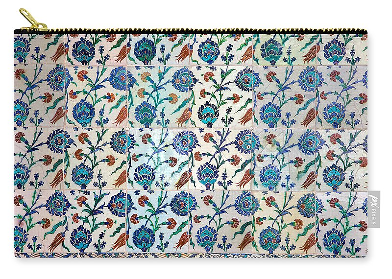 Tile Carry-all Pouch featuring the photograph Iznik Ceramics With Floral Design by Artur Bogacki