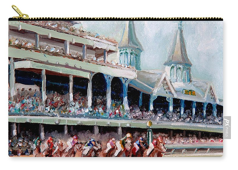 Kentucky Derby Carry-all Pouch featuring the painting Kentucky Derby by Todd Bandy