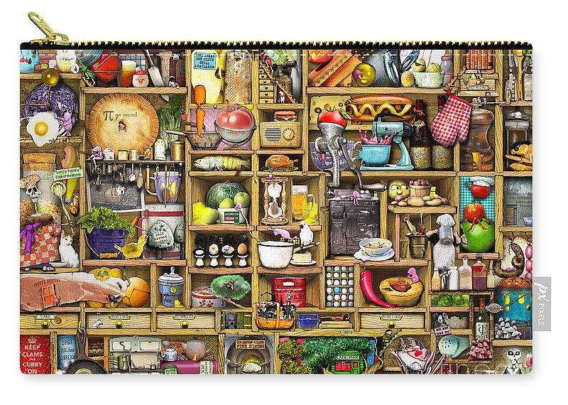 Adult Carry-all Pouch featuring the digital art Kitchen Cupboard by Colin Thompson