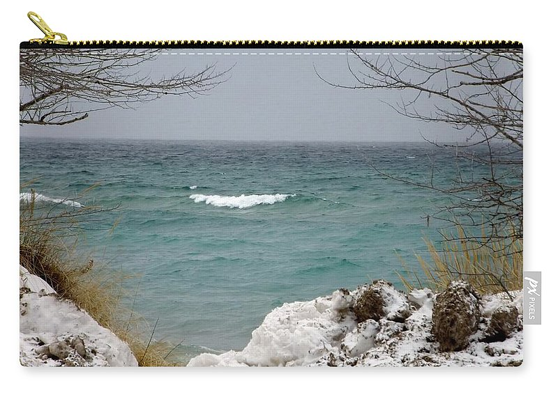 Lake Michigan Carry-all Pouch featuring the photograph Lake Michigan In December by Linda Kerkau