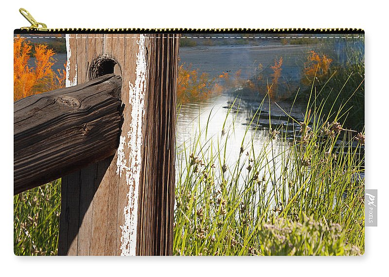 Agriculture Carry-all Pouch featuring the photograph Landscape With Fence Pole by Gunter Nezhoda