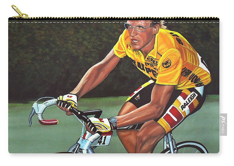 Laurent Fignon Carry-all Pouch featuring the painting Laurent Fignon by Paul Meijering