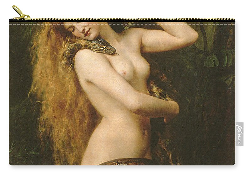 Nude Carry-all Pouch featuring the painting Lilith by John Collier