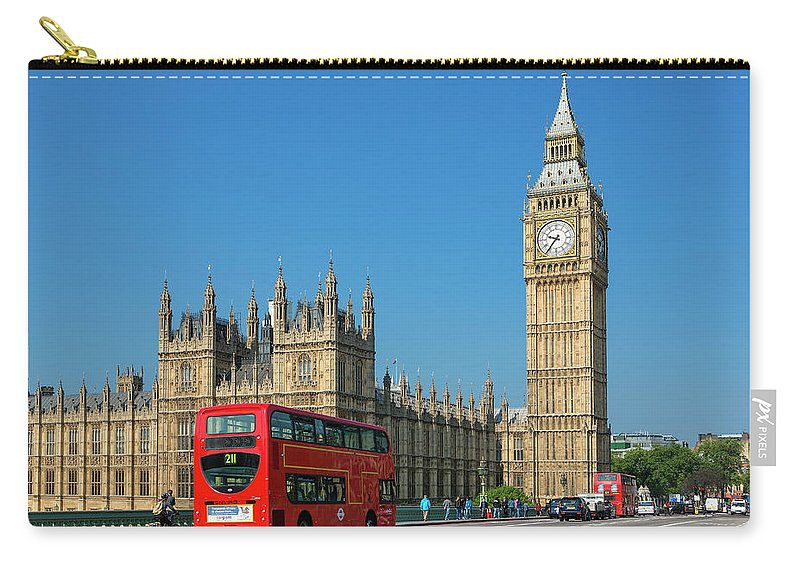 Clock Tower Carry-all Pouch featuring the photograph London, Big Ben And Traffic On by Sylvain Sonnet