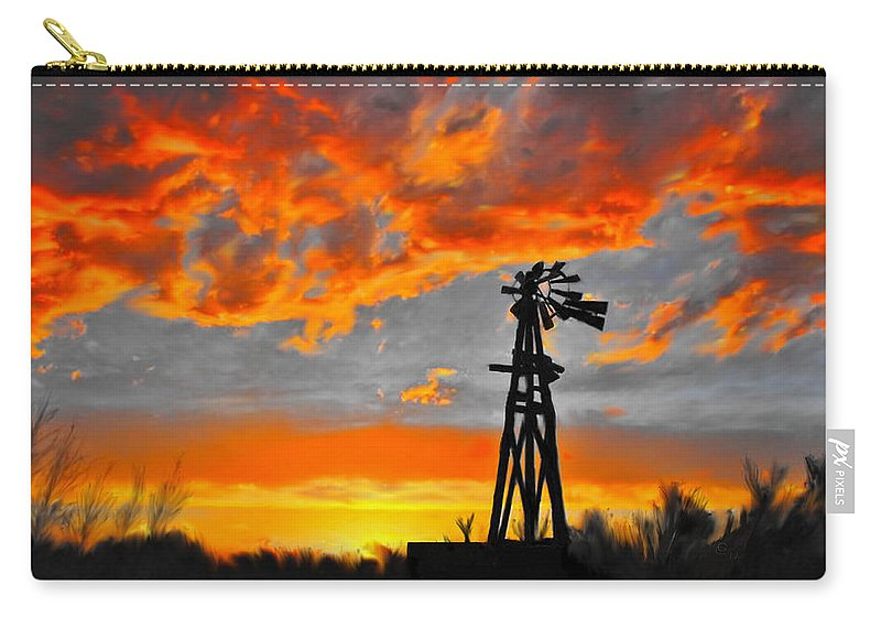 Lubbock Carry-all Pouch featuring the mixed media Lubbock Skyline by G Cannon
