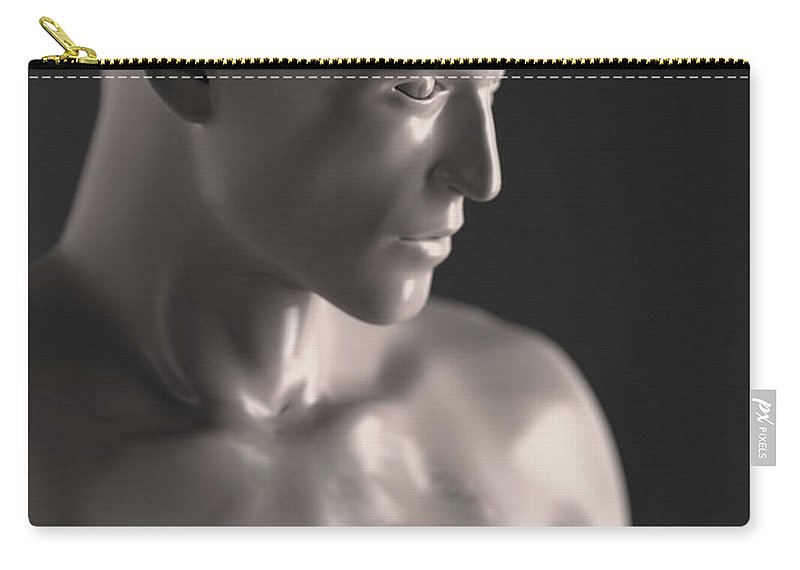 Male Carry-all Pouch featuring the photograph Male Figure With Brain by Science Picture Co
