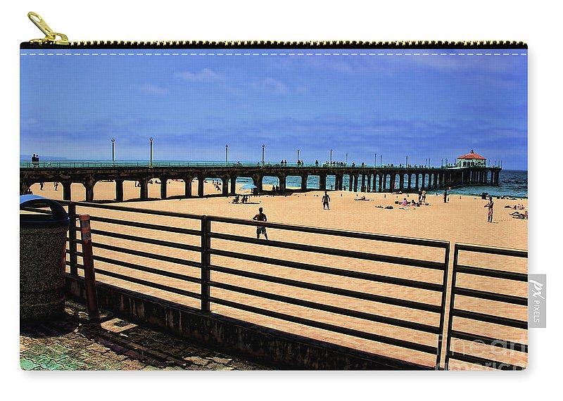 Manhattan Beach Carry-all Pouch featuring the photograph Manhattan Beach Pier by RJ Aguilar