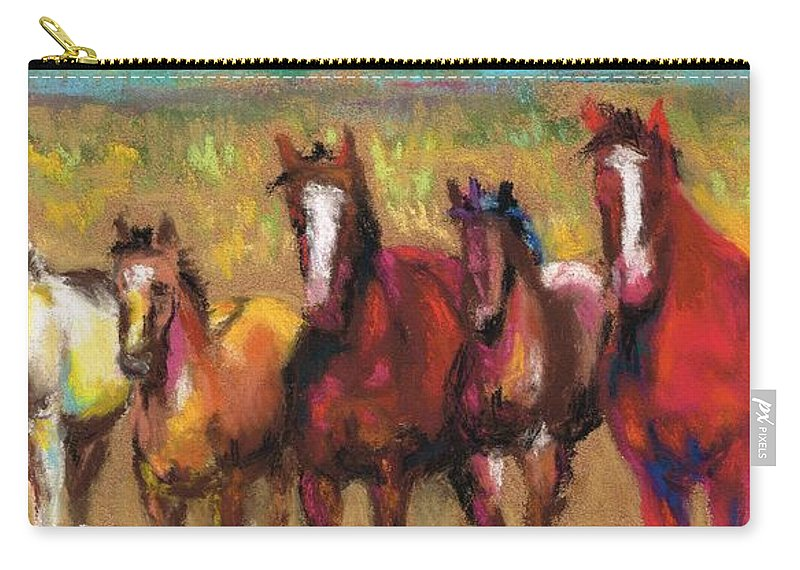 Horses Carry-all Pouch featuring the painting Mares And Foals by Frances Marino