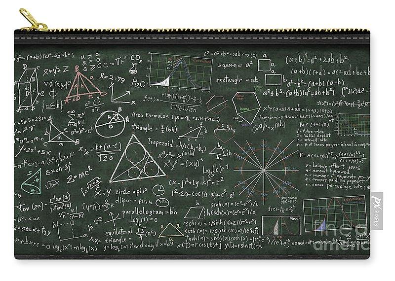 Algebra Carry-all Pouch featuring the digital art Maths Formula On Chalkboard by Setsiri Silapasuwanchai