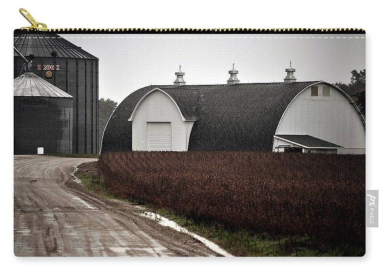 Michigan Carry-all Pouch featuring the photograph Michigan Barn With Grain Bins Rainy Day Usa by Sally Rockefeller