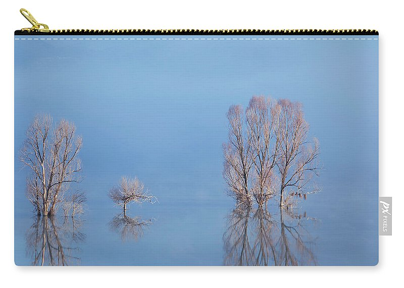 Water's Edge Carry-all Pouch featuring the photograph Misty Lake In Spring by Temizyurek
