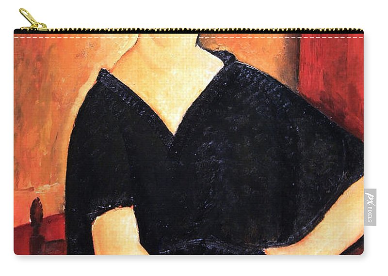 Madame Amedee Carry-all Pouch featuring the photograph Modigliani's Madame Amedee -- Woman With Cigarette by Cora Wandel