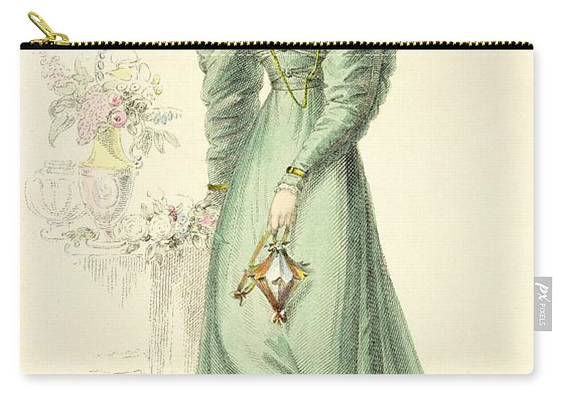 Costume Carry-all Pouch featuring the drawing Morning Dress, Fashion Plate by English School