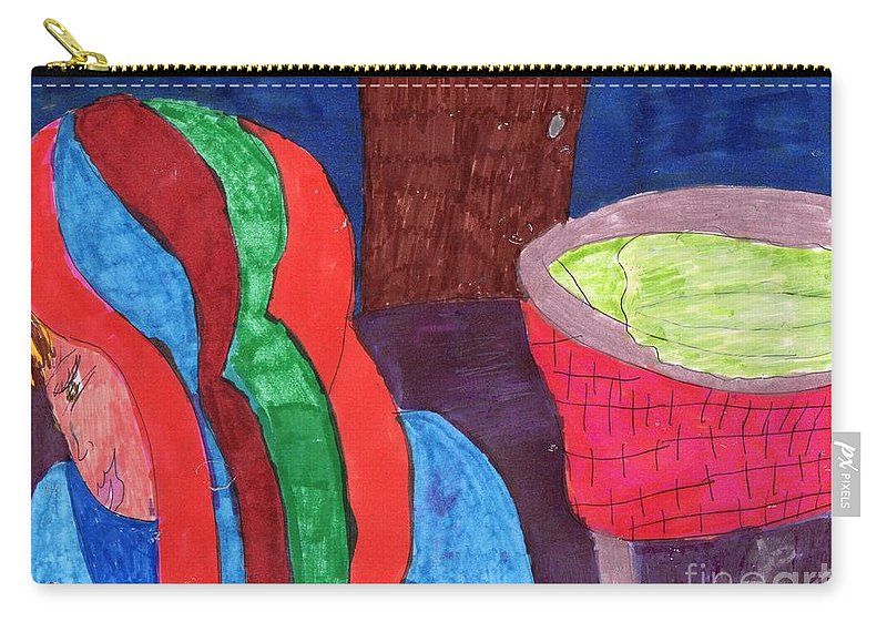 Lady Looking At Her New Infant Carry-all Pouch featuring the mixed media My New Baby by Elinor Helen Rakowski