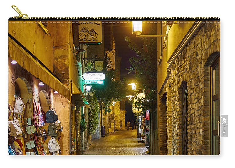 Francacorta Carry-all Pouch featuring the photograph Night. Sirmione. Lago Di Garda by Jouko Lehto