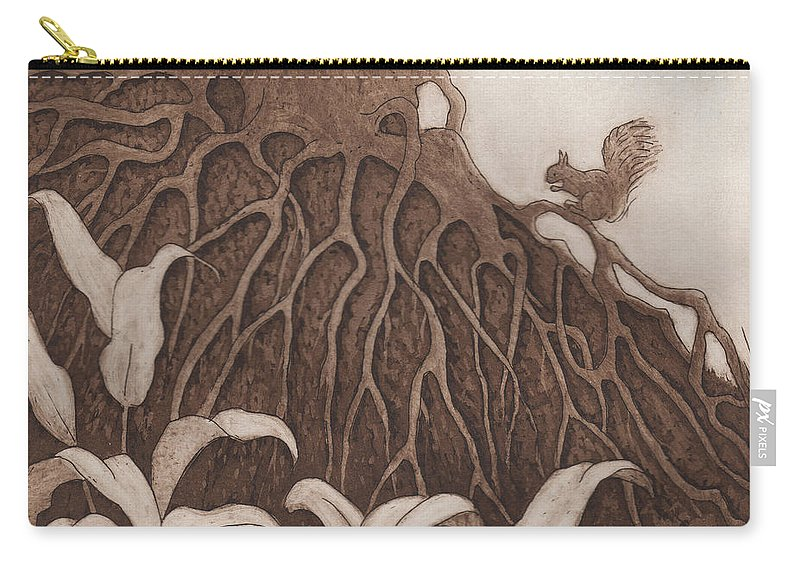 Tree Carry-all Pouch featuring the relief Nut Maze by Suzette Broad