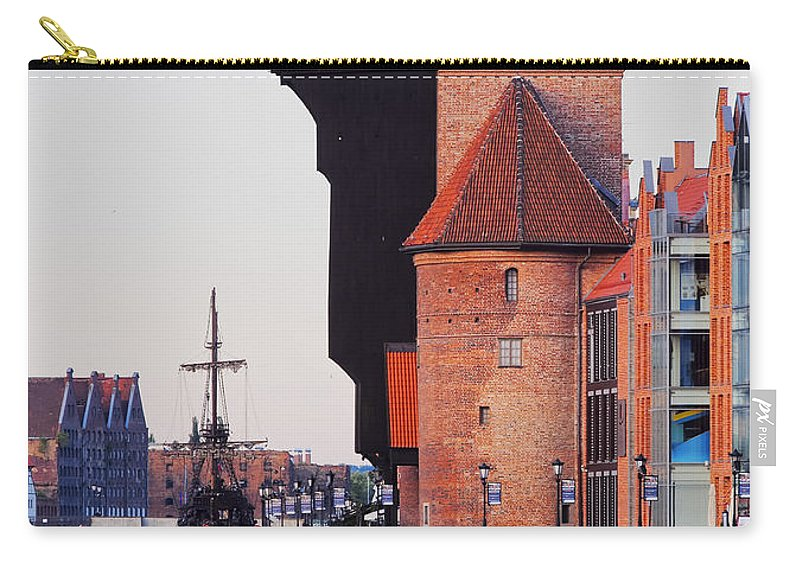 Building Carry-all Pouch featuring the photograph Old Port Crane In Gdansk by Karol Kozlowski