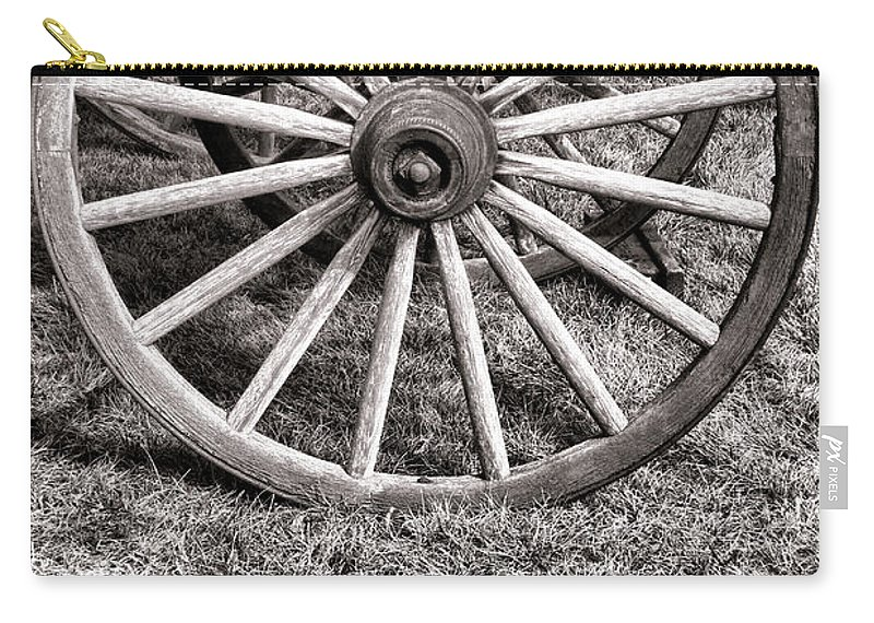 Schooner Carry-all Pouch featuring the photograph Old Wagon Wheel On Cart by Olivier Le Queinec