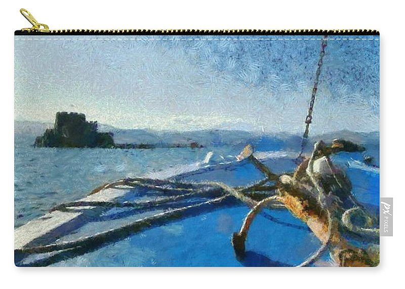 Bourtzi Carry-all Pouch featuring the painting On The Way To Bourtzi Fortress by George Atsametakis