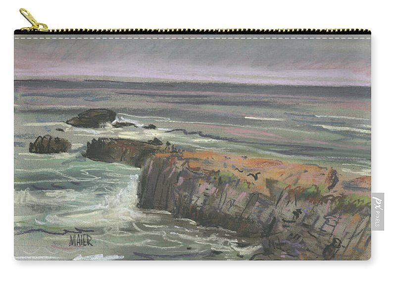Beach Carry-all Pouch featuring the pastel Pescadero Beach by Donald Maier