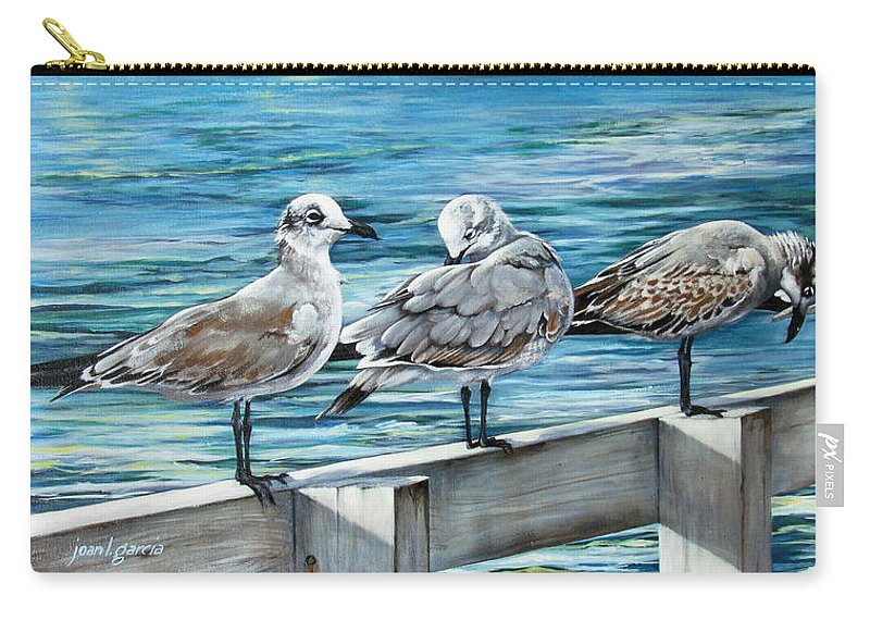 Seagulls Carry-all Pouch featuring the painting Pier Gulls by Joan Garcia