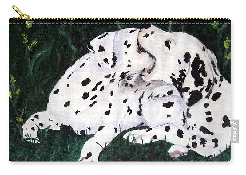 Dogs Carry-all Pouch featuring the painting Playful Pups by Jacki McGovern
