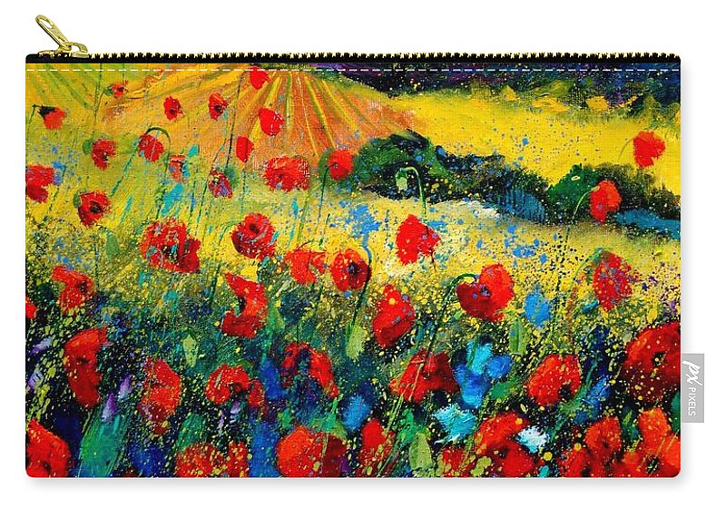 Flowersn Landscape Carry-all Pouch featuring the painting Poppies in Tuscany by Pol Ledent
