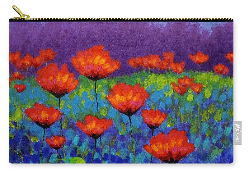 Acrylic Carry-all Pouch featuring the painting Poppy Meadow by John Nolan