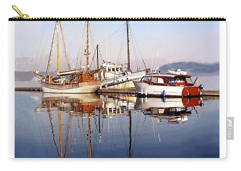 Yacht Portraits Carry-all Pouch featuring the photograph Port Orchard Marina Reflections by Jack Pumphrey