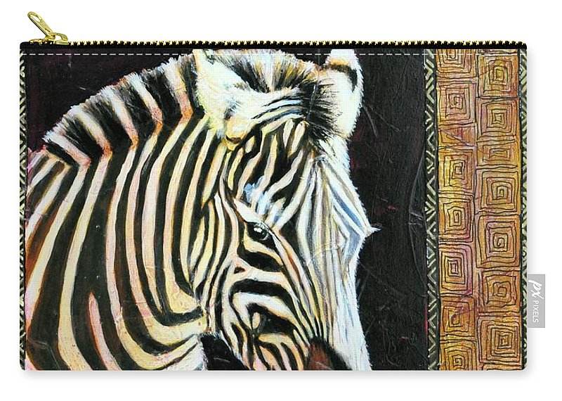 Zebra Carry-all Pouch featuring the mixed media Portrait Of A Zebra by JAXINE Cummins