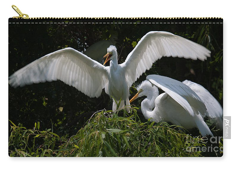 Egret Carry-all Pouch featuring the photograph Prepare For Flight by Dale Powell