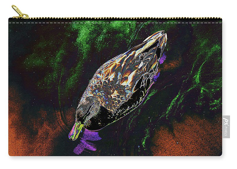 Psychedelic Carry-all Pouch featuring the photograph Psychedelic Mallard Duck 1 by Peter Lloyd