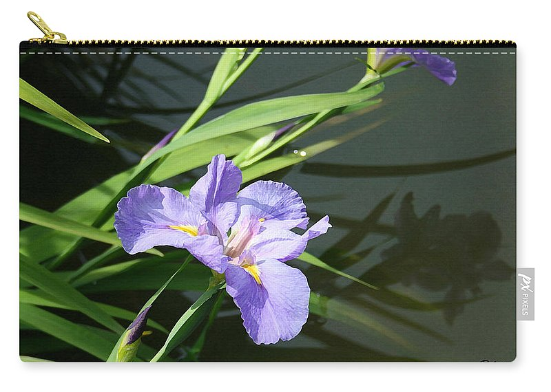 Purple Iris Reflection Carry-all Pouch featuring the painting Purple Iris Reflection by Ellen Henneke