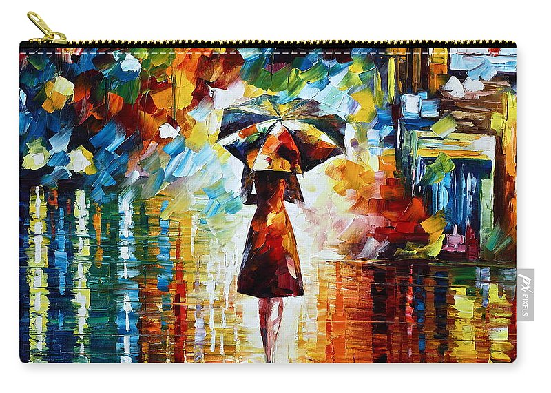 Rain Carry-all Pouch featuring the painting Rain Princess - Palette Knife Landscape Oil Painting On Canvas By Leonid Afremov by Leonid Afremov