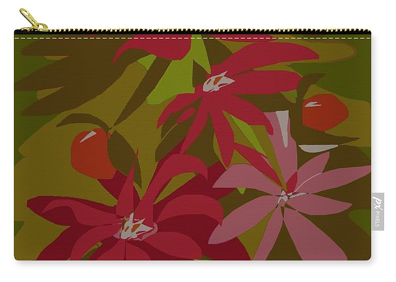 Floral Carry-all Pouch featuring the digital art Razzmatazzy by Christine Fournier