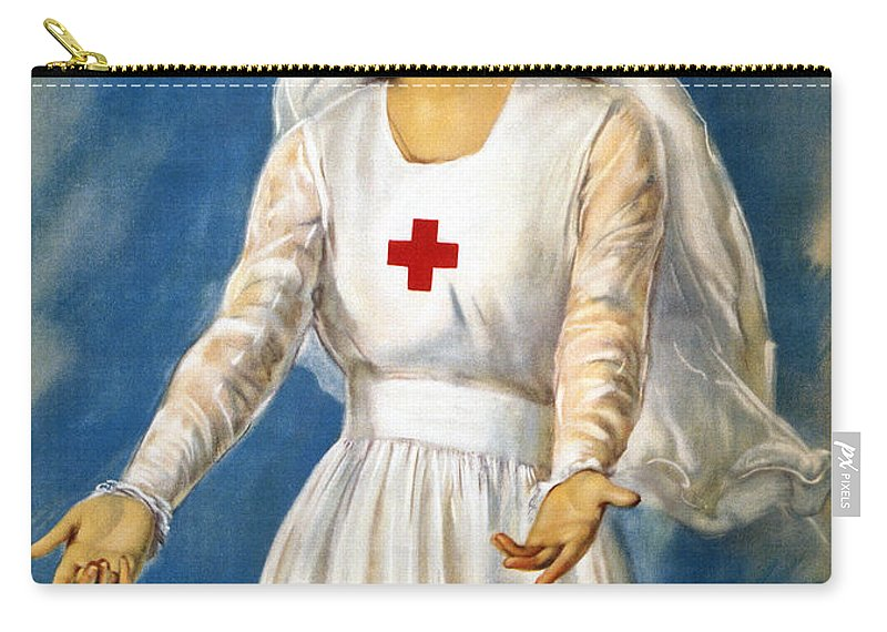 1918 Carry-all Pouch featuring the photograph Red Cross Poster, 1918 by Granger