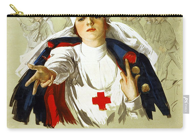 1918 Carry-all Pouch featuring the photograph Red Cross Poster, C1918 by Granger