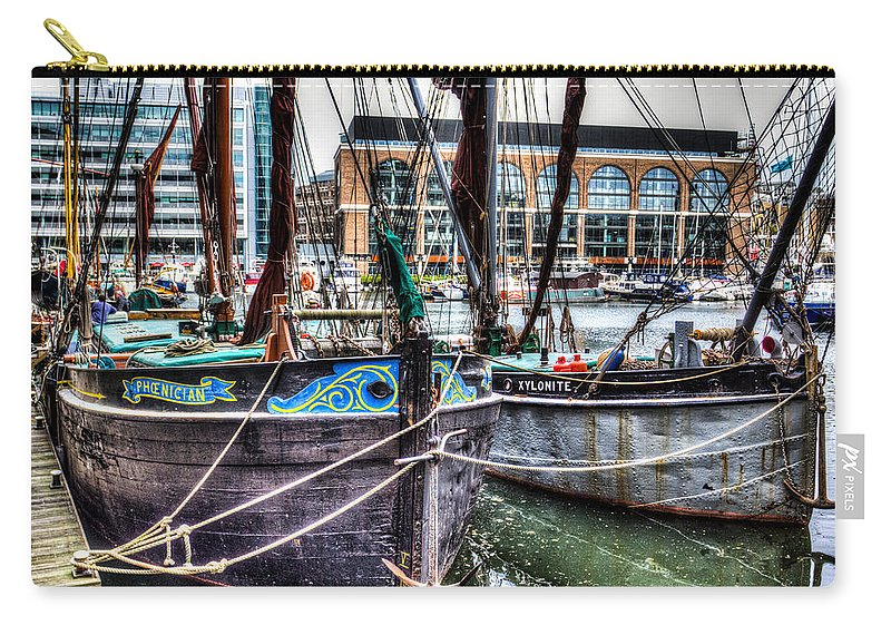 London Carry-all Pouch featuring the photograph River Thames Sailing Barges. by David Pyatt