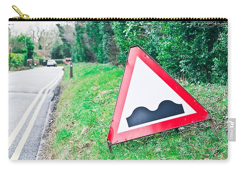 Ahead Carry-all Pouch featuring the photograph Road Sign by Tom Gowanlock